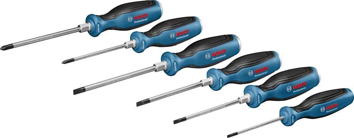 125 mm SL4.5 cromo vanadio azul, mango softgrip con cabezal de acero Bosch Professional 1600A01TF9 Destornillador plano