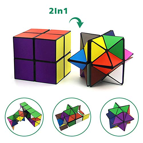 Euclidean Cube Star Cube Magic Cube Set (2 Piece), Transforming Cubes Magic Puzzle Cubes for Kids and Adults