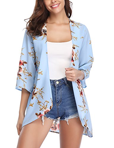 Abollria Women 3/4 Sleeve Floral Chiffon Casual Loose Kimono Cardigan Capes Light ()