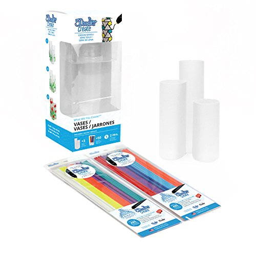 (3Doodler Create Canvas Kit, Vases (x3), with 2 Packs of Plastic Filaments)