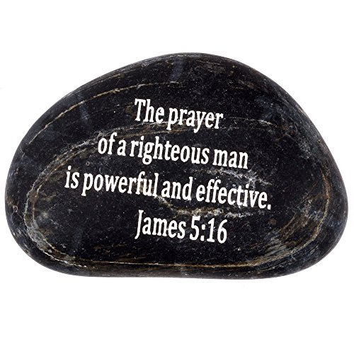 Holy Land Market Engraved Inspirational Scripture Biblical Black Stones Collection - Stone XII : James 5:16 :