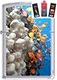 Zippo 0751 Coral Reef Fish Chrome Lighter + Fuel Flint & Wick Gift Set