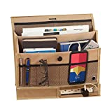 remote caddy bedside - Hanging Bedside Storage Caddy Organizer for Books, Phone, Tablet, TV Remote, Tan, 14
