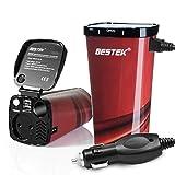 BESTEK® 200W/400W Inversor de Corriente 12V CC a 220V AC. Adaptador /Cargador de Energía con Dos 4.5A Puertos USB & Toma de Encendedor Mechero de Coche y 2 CA Enchufe(MRI2013KLB-KFST-EU) (Copa de Café)