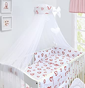 Amilian/® Baby Cot Bumper Wrap Around Protection For Babys Bed With Head Guard Love Hearts Print Red Available In 3 Sizes