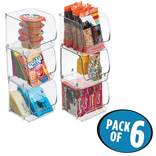 mDesign Stacking Organizer Bins for Kitchen, Pantry, Office, Bathroom – Pack of 6, Small, Clear