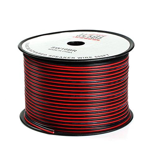 500ft 16ゲージスピーカーワイヤケーブル車ホームオーディオAWGブラック&レッドZipワイヤ