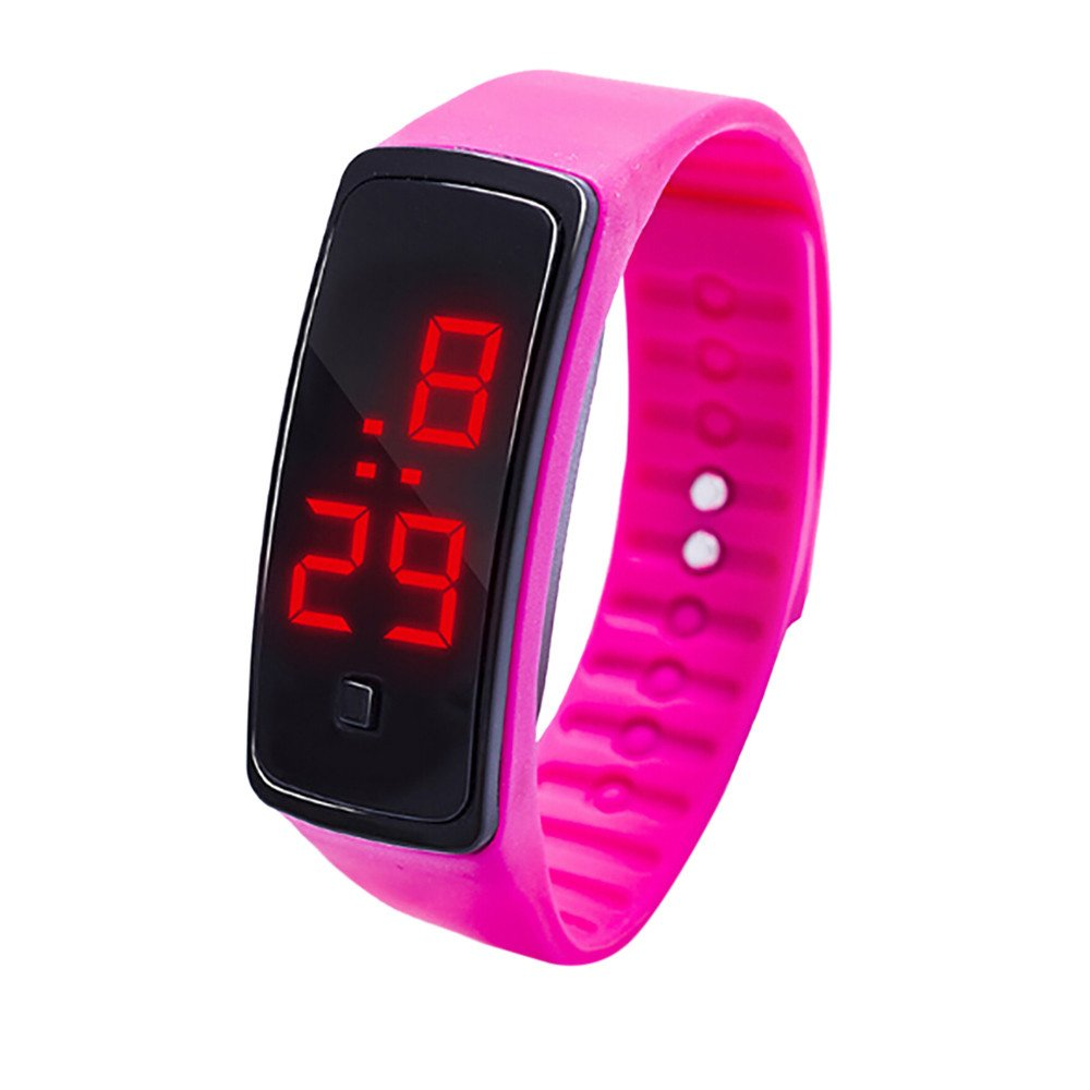 Boy's Digital LED Watch Display Bracelet Watch Children's Students Silica Gel Sports Watch Yamally (Hot Pink)