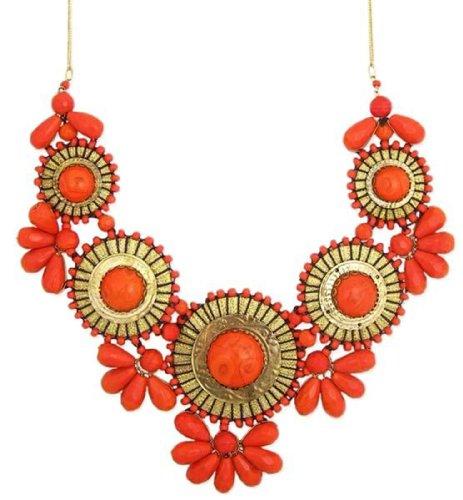ZAD XX-Large Gold Metal Orange Glass Bead Medallion Necklace