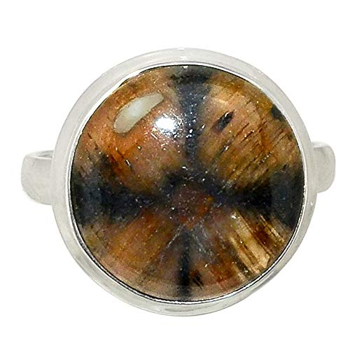 Xtremegems Chiastolite - Cross Stone 925 Sterling Silver Ring Jewelry Size 9.5 28416R
