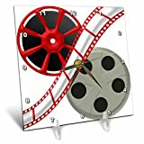 3dRose 3D Rose dc_222687_1 Two Reels with Movie Tape Down the Middle Illustration-Desk Clock, 6 by 6-inch
