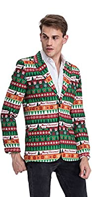 YOU LOOK UGLY TODAY Mens Christmas Party Suit Coat Jacket Funny Blazer Costumes With Santa Reindeer