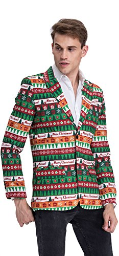 YOU LOOK UGLY TODAY Mens Christmas Suit Coat Jacket Bachelor Party Funny Blazer Costume (Mens Christmas Party)