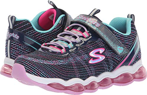 Price comparison product image Skechers Kids Girls' Glimmer Lights Sneaker, Navy/Multi, 3.5 Medium US Big
