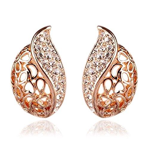 Ameesi 1 Pair Fashion Women's Lady Hollow Leaf Rhinestone Ear Stud Earrings Golden Tone