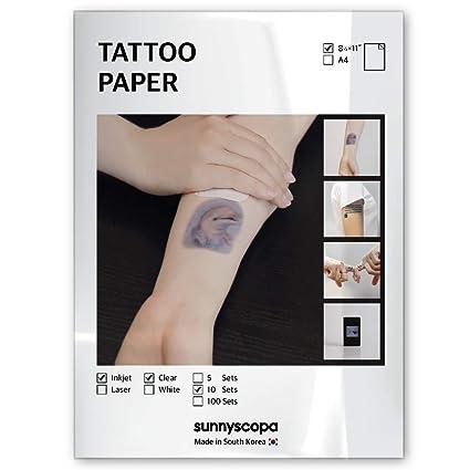 Sunnyscopa Inkjet 10 días tatuaje temporal calcomanía papel 8.5 x ...