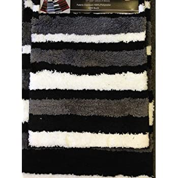 This Item 2 Piece Microfiber Bath Rug Set Modern Stripe Pattern Bathroom Rugs Black