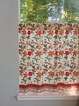 Saffron Marigold Tropical Garden Red, Yellow, and Gold Floral Hand Printed Sheer Cotton Voile Kitchen Curtain Panel Rod Pocket 46 x 30