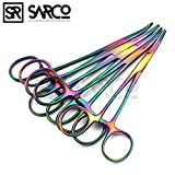 SARCO SET OF 5 MULTI COLOR RAINBOW CRILE HEMOSTAT FORCEPS 5.5'' CURVED STAINLESS STEEL BEST QUALITY