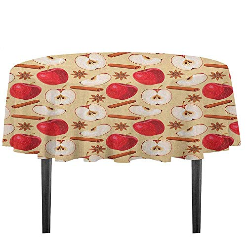 kangkaishi Apple Leakproof Polyester Tablecloth Quartered and Halved Apples with Cinnamon Sticks and Star Anise Diet Recipe Dinner Picnic Home Decor D51.18 Inch Beige Cinnamon Red]()