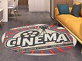 Vintage Round Area Rug Carpet Retro Cinema Movie Vintage Paper Texture Hollywood Stars Theme Image Print Living Dining Room Bedroom Hallway Office Carpet Ecru Brown Red Gray
