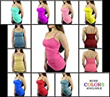 #9: Belle Donne Womens Solid Color Camisole Spaghetti Strap Tanktop Built in Bra