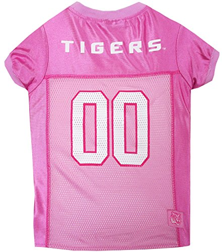 NCAA LSU Tigers Dog Pink Jersey, Large. - Pet Pink Outfit.