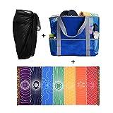 CHIC DIARY Women Chiffon Pareo Beach Wrap Sarong Swimsuit Scarf Cover up for Vacation (Black Pareo+Blue Beach Bag+Rainbow Beach Towel)