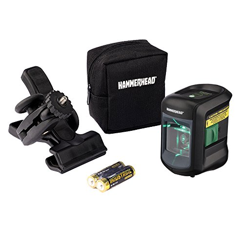 - HAMMERHEAD HLCLG01 Green Beam COMPACT Self-Leveling Cross Line Laser with Adjustable Mounting Clamp & Storage Bag