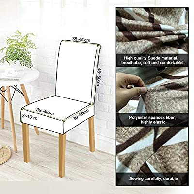 Leanking Knit Spandex Fabric Stretch Removable Washable Dining Room Chair Slipcover Home Decor Set of 4