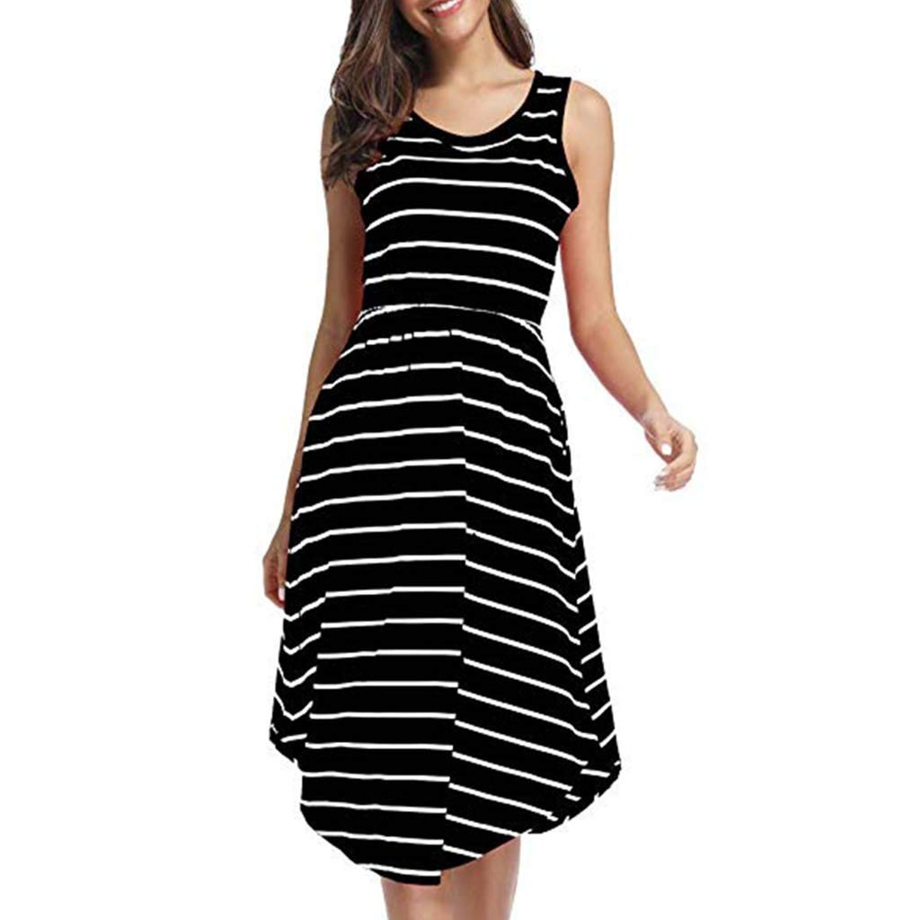 ZOMUSAR 2019 Fashion Women's Casual Sleeveless Elastic Waist Striped Dress with Pockets Black