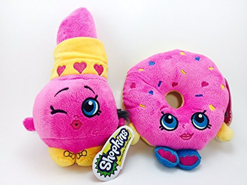 Official Shopkins Soft Plush Character Toy - Set of 2 - 8.5'' LIPPY LIPS and 6.5'' D'LISH DONUT by Shopkins