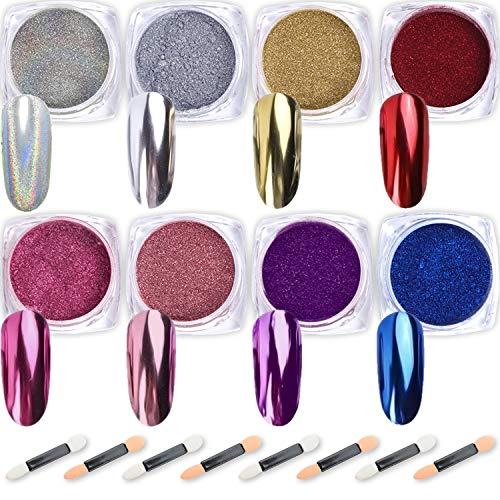 Nail Powder Wenida 8 Colors 1g/Jar Premium Mirror Laser Synthetic Resin Powder Manicure Art Decoration With 8pcs Eyeshadow Sticks (The Best Nail Designs On Acrylic Nails)