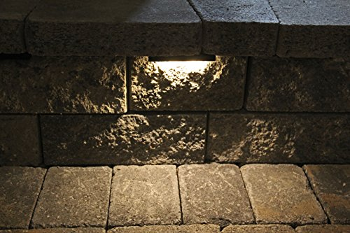 Wall Eye II - 12 volt WARM (3000 K) 2 watt CMD Flat LED - Low-Voltage Landscape Light for Retaining Wall, Column & Stair Night Time Safety Illumination - Brown - Rock Low Voltage