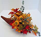 "Pumpkins and Silk Autumn Leaves Arrangement with Dark Brown Wicker Cornucopia Horn of Plenty Basket 7.5"" D X 12"" L"