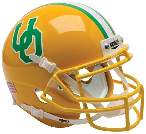 NCAA Oregon Ducks Gold Throwback 3 Mini Helmet, One Size, White by Schutt