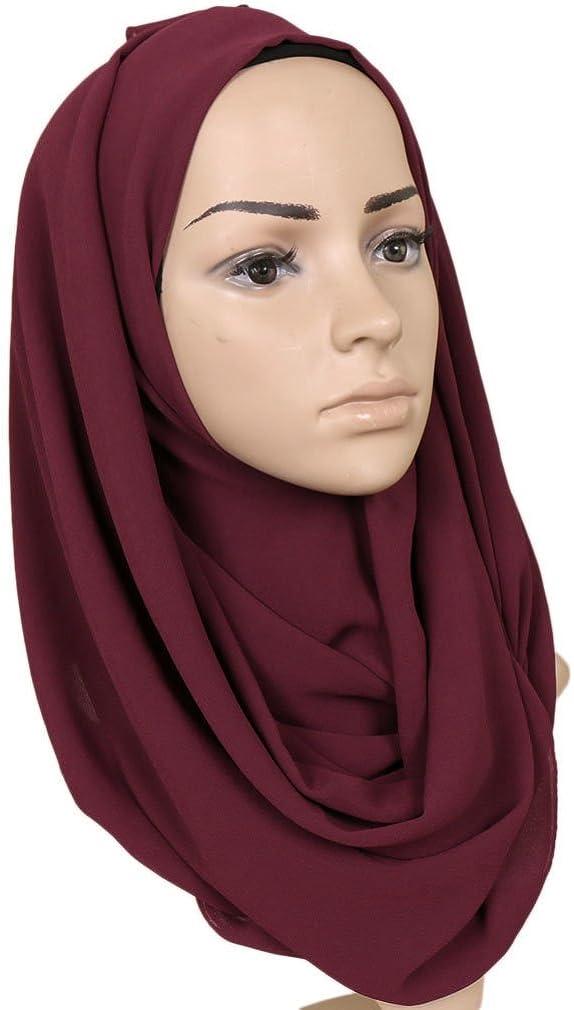 KAVINGKALY Einfarbiger Seifenblasen-Chiffonschal Damen Muslim Hijab Langer Schal Wickelschals