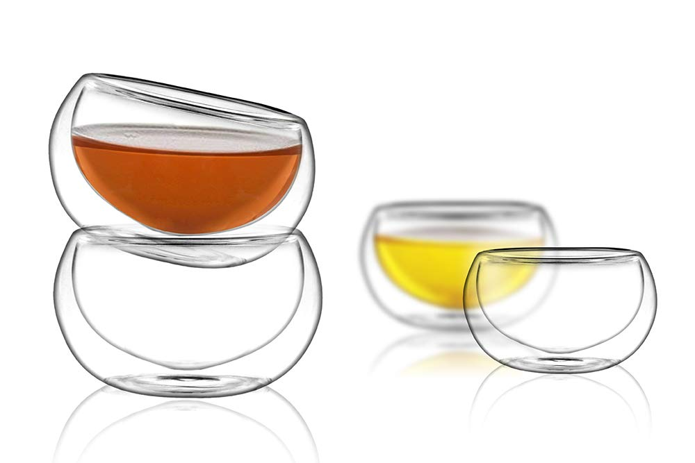PunPun Tea cups Set of 4-Double Wall Borosilicate Glasses-Espresso Cups Set-Heatproof Insulating-Teacups glass-2.7oz-Demitasse Gift Box-Hand Made-Lead free