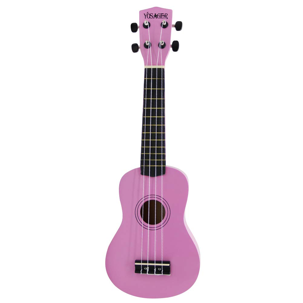 yosager 21 Inch Wooden Ukulele Toy for Kids Musical Instrument Musical Toys (Pink)