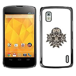Design for Girls Plastic Cover Case FOR LG Nexus 4 E960 Skull Floral Minimalist White Death Rock OBBA