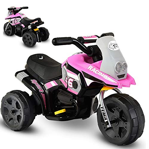 DUSTNIE Battery Operated Ride On Toys - Kids 6V 3 Wheels Ride-on Motorcycles Trike Motorbike Chopper Minibike - Girl Pink Motorcycle (Mini Chopper Kids)