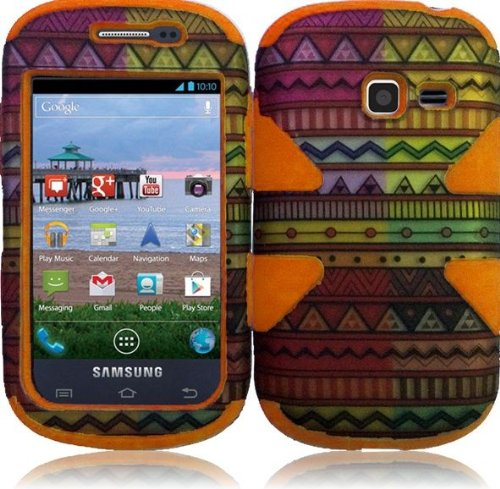 Importer520 (TM) Dynamic Hybrid Tuff Premium Rugged Hard Soft Case Skin Cover For Samsung Galaxy Centura S738C S730G S740C Discover (Cricket, Net 10, Tracfone, Straighttalk) -Geometric Aztec+Orange