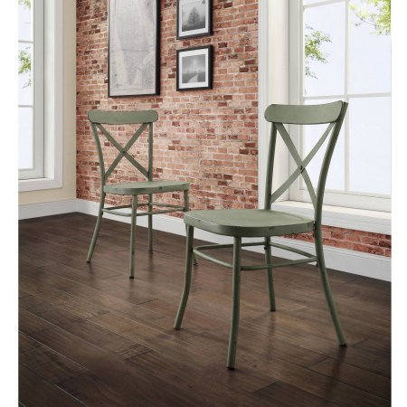 Better Homes and Gardens Collin Distressed Green Dining Chair, 2Pk