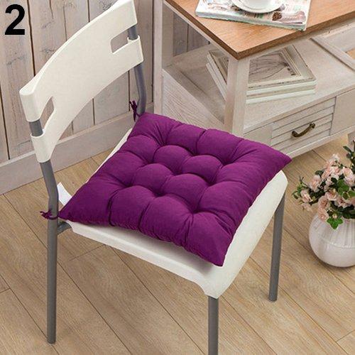 Connoworld Seat Cushion Soft Polka Dot Solid Seat Pad Travel Home Office Decor Tie On Chair Cushion #1-Purple Dumpy Grid ()
