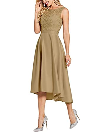 BOwith High Low Prom Dresses Lace Bridesmaid Dresses Cocktail Evening Gowns - Gold - 24 Plus