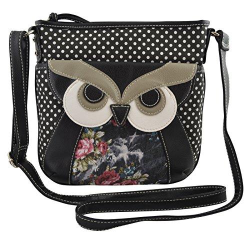 Women's / Girls Cross Body Bag Owl Polka Dots Floral Canvas Purse Messenger Handbag (Black)