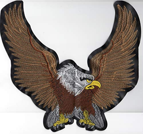 Patch BACK Huge Jumbo Large Big SIZE EAGLE BIKER Brown Coat Commando Cycles Wing Star Motorcycle Hat Vest Owner USA America Chopper Force Badge Polo Jacket T shirt Color Embroidered Sew On Bestdeahere