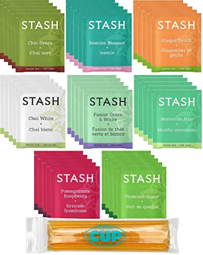 Stash Tea Bag & By The Cup Honey Sticks Variety Sampler 40 Ct - 8 Flavor Assortment - includes Green & White - Gourmet Tea Green Set