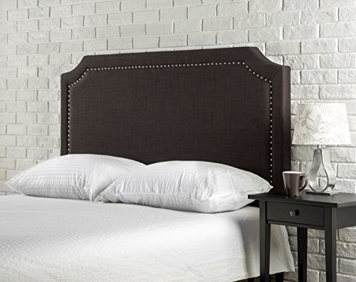 Zinus Upholstered Nailhead Detailed Headboard, Full/Queen, Dark Brown (Chocolate Bed Queen)