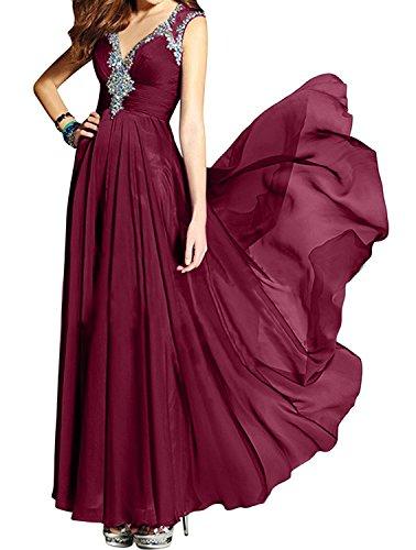 Jugendweihe Charmant Kleider Langes Damen Abendkleider V Chiffon Promkleider Burgundy Tanzenkleider Neu ausschnitt yrr8qHzp1w